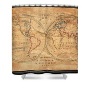1833 School Girl Manuscript Wall Map Of The World On Hemisphere Projection  Shower Curtain