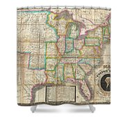 1835 Webster Map Of The United States Shower Curtain