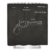 1836 First Colt Revolver Patent Artwork - Gray Shower Curtain