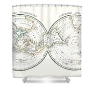 1838 Bradford Map Of The World On Polar Projection Shower Curtain