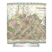 1838 Bradford Map Of Virginia Shower Curtain
