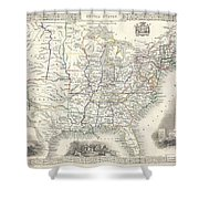 1851 Tallis And Rapkin Map Of The United States Shower Curtain