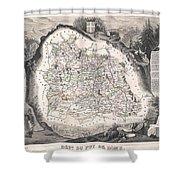 1852 Levasseur Map Of The Department Du Puy De Dome France Shower Curtain
