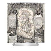 1852 Levasseur Map Of The Department Du Rhone France  Beaujolais Wine Region Shower Curtain