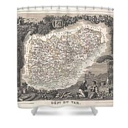 1852 Levasseur Map Of The Department Du Var France  French Riviera Shower Curtain