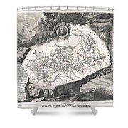 1852 Levasseur Map Of The Department Hautes Alpes France  Shower Curtain