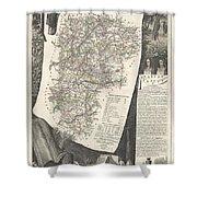 1852 Levasseur Map Of The Department L Aisne France Shower Curtain