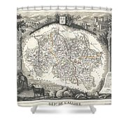 1852 Levasseur Map Of The Department L Allier France  Saint Pourcain Wine Region Shower Curtain