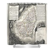 1852 Levasseur Map Of The Department L Ardeche France Shower Curtain