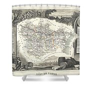 1852 Levasseur Map Of The Department L Aude France Shower Curtain