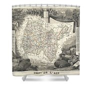 1852 Levasseur Map Of The Department L'ain France Bugey Wine Region Shower Curtain