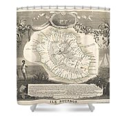 1852 Levasseur Map Of The Reunion Or The Ile Bourbon Indian Ocean Shower Curtain