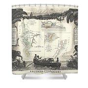 1852 Levassuer Map Of Senegal Senegambia And Madagascar Shower Curtain