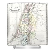1852 Philip Map Of Palestine  Israel  Holy Land Shower Curtain
