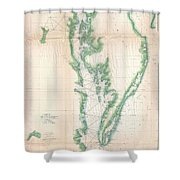 1852 Us. Coast Survey Chart Or Map Of The Chesapeake Bay And Delaware Bay Shower Curtain