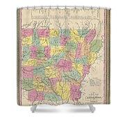 1853 Mitchell Map Of Arkansas Shower Curtain