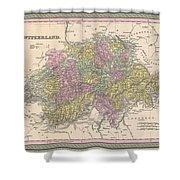 1853 Mitchell Map Of Switzerland  Shower Curtain