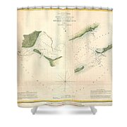 1853 Us Coast Survey Chart Or Map Of St Georges Sound Florida Shower Curtain
