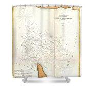 1853 Us Coast Survey Map Of The Romer And Flynns Shoals Near Coney Island New York Shower Curtain