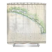1853 Us Coast Survey Map Of The Western Florida Panhandle Shower Curtain