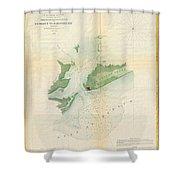 1853 Us Coast Survey Map Or Chart Of Bartaria Bay Louisiana Shower Curtain