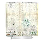 1853 Us Coast Survey Map Or Chart Of Sow And Pigs Reef Off Marthas Vineyard Massachussetts Shower Curtain