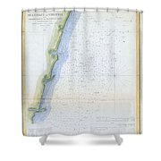 1853 U.s.c.s. Map Of The Virginia Coast Shower Curtain