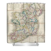 1853 Wyld Pocket Or Case Map Of Ireland Shower Curtain