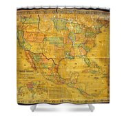 1854 Jacob Monk Wall Map Of North America Shower Curtain