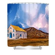 1855 Church At Cape Verde Shower Curtain