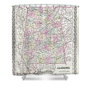 1855 Colton Map Of Alabama Shower Curtain