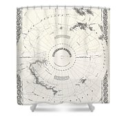 1855 Colton Map Of Antarctica The South Pole Or The Southern Polar Regions Shower Curtain