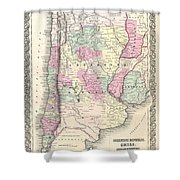 1855 Colton Map Of Argentina Chile Paraguay And Uruguay Shower Curtain