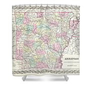 1855 Colton Map Of Arkansas Shower Curtain