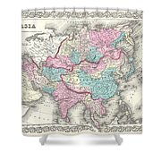 1855 Colton Map Of Asia Shower Curtain