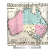 1855 Colton Map Of Australia Shower Curtain