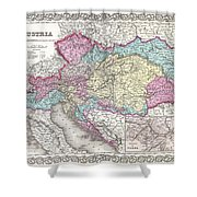1855 Colton Map Of Austria Hungary And The Czech Republic Shower Curtain