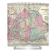 1855 Colton Map Of Bavaria Wurtemberg And Baden Germany Shower Curtain