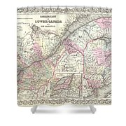1855 Colton Map Of Canada East Or Quebec Shower Curtain
