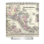 1855 Colton Map Of Central America And Jamaica Shower Curtain