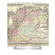 1855 Colton Map Of Columbia Venezuela And Ecuador Shower Curtain