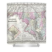 1855 Colton Map Of Delaware Maryland And Washington Dc Shower Curtain