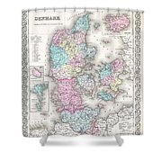 1855 Colton Map Of Denmark Shower Curtain