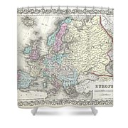 1855 Colton Map Of Europe Shower Curtain