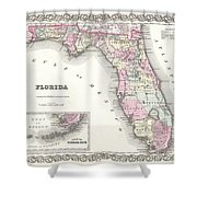 1855 Colton Map Of Florida Shower Curtain