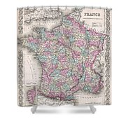 1855 Colton Map Of France Shower Curtain