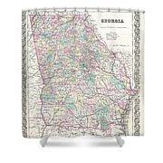 1855 Colton Map Of Georgia Shower Curtain