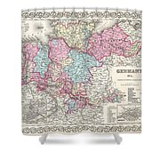 1855 Colton Map Of Hanover And Holstein Germany Shower Curtain