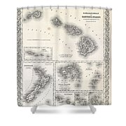 1855 Colton Map Of Hawaii And New Zealand Shower Curtain