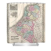 1855 Colton Map Of Holland And Belgium Shower Curtain